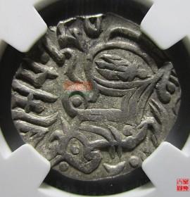 沙希王朝国王持矛骑像银币